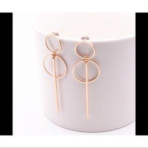 ❤️Gold long tassel with circles dangling earrings